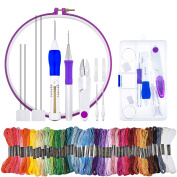 WXJ13 Embroidery Stitching Punch Needles, 4 Sized Magic Embroidery Pen Kit with 50 Skeins Embroidery Thread, 1 Pieces Scissors and 1 Embroidery Hoop
