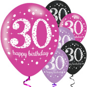 Ladies 30th Birthday Party Balloons Celebration Pink Purple Black Sparkling Paper Tableware Decorations Accessories