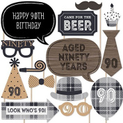 90th Milestone Birthday - Dashingly Aged to Perfection - Birthday Party Photo Booth Props Kit - 20 Count