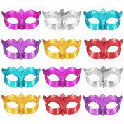 12 Pieces Unisex Plated Masquerade Half Face Mask Wedding Props Mardi Gras Party Masks Carnival Costume Accessory