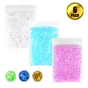 WXJ13 3 Pack Plastic Slime Beads Fishbowl Beads Vase Fillers and 3 Pack Glitter Sequins for Homemade Slime DIY Crafts Decorations