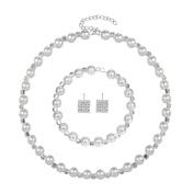 erthome Women Alloy Venetian Pearl Rhinestone Necklace Bracelet Stud Earrings Set Jewellery Gift