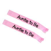 Sharplace 2pcs Auntie To Be Pink Sashes Baby Shower Party Accessories Satin Ribbon Crafts Props