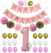 1st Birthday Girl Decorations Kit - Beautiful Pastel Colours for Baby's First Birthday Decorations - Number One Balloon - Pink Happy Birthday Banner - Gold, Light and Baby Pink Pom Poms and Balloons