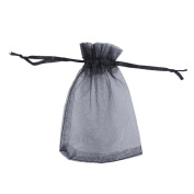 25PCS Black Drawstring Organza Jewellery Pouches Wedding Party Christmas Favour Gift Bags 9cmx12cm