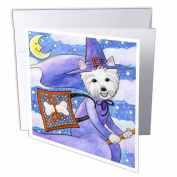 3dRose West Highland Terrier Westie Westie in costume witch Halloween Halloween Westie dog, Greeting Cards, 15cm x 15cm , set of 6