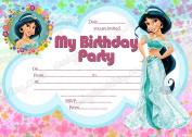 Girls Disney Princess Jasmine Birthday Party Invitations,Princess Jasmine party X 8 CARDS DS2+ Free Envelopes