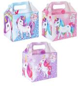 12 x Paper Lunch Box Unicorn Design Kids Childrens Party Bag Fillers Pinata Toys Present Picnic