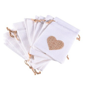 12pcs Love Heart Wedding Favour Gift Bags Party Drawstring Linen Candy Bags Jewellery Pouches White 10 x 14 cm