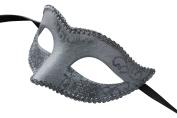 Mask & Co Ladies Quality Sparkling White & Silver Venetian Masquerade Party Ball Eye Mask