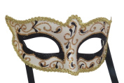 Mask & Co Mens or Ladies Quality Black & Gold Venetian Masquerade Party Ball Eye Mask