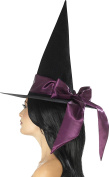 Smiffys 48026 Deluxe Witch Hat, Black, One Size