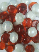 1Kilo Strawberries & Cream Red with White Opal Decorative Round Glass Pebbles 18-20mm …