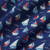 Navy Blue Polycotton Fabric with Nautical Sailing Boats and Waves
