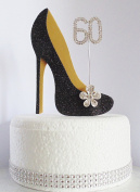 60th Black and Gold Birthday Cake Decoration Shoe with Crystal Flower Button Embellishments and Diamante Number Non- Edible