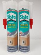 2x 300 ml Sista Wall Acrylic White 600ml