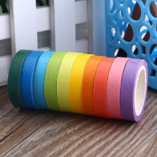 Tiptiper Rolls Washi Tape, Rainbow Candy Colour Sticky Paper Masking Adhesive Tape for Scrapbooking, Home Decor, DIY Arts and Crafts