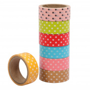 7PC Pack Multicoloured Polka Dot Crafting Tape Scrapbooking Arts and Crafts TRIXES