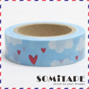 Blue Sky Hearts And Clouds Washi Tape, Craft Decorative Tape