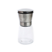 Salt and Pepper Grinder Set Salt Mill Pepper Mill Spice Stainless Steel Lid Slim Glass Bottle with Adjustable Ceramic Rotor