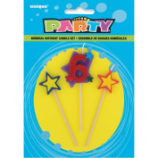 Stars & Number 6 Birthday Candles Set, 3pc