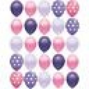 25 pc Pink and Purple Polka Dot 28cm latex balloons Princess party Birthday Baby