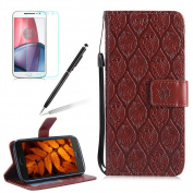 Wallet Case for Moto G5 Plus,Girlyard Premium Soft PU Leather Wallet Embossed Florals Design with [Wrist Strip] Stand Function Flip Case Shockproof Protective Skin Cover for Moto G5 Plus-Brown
