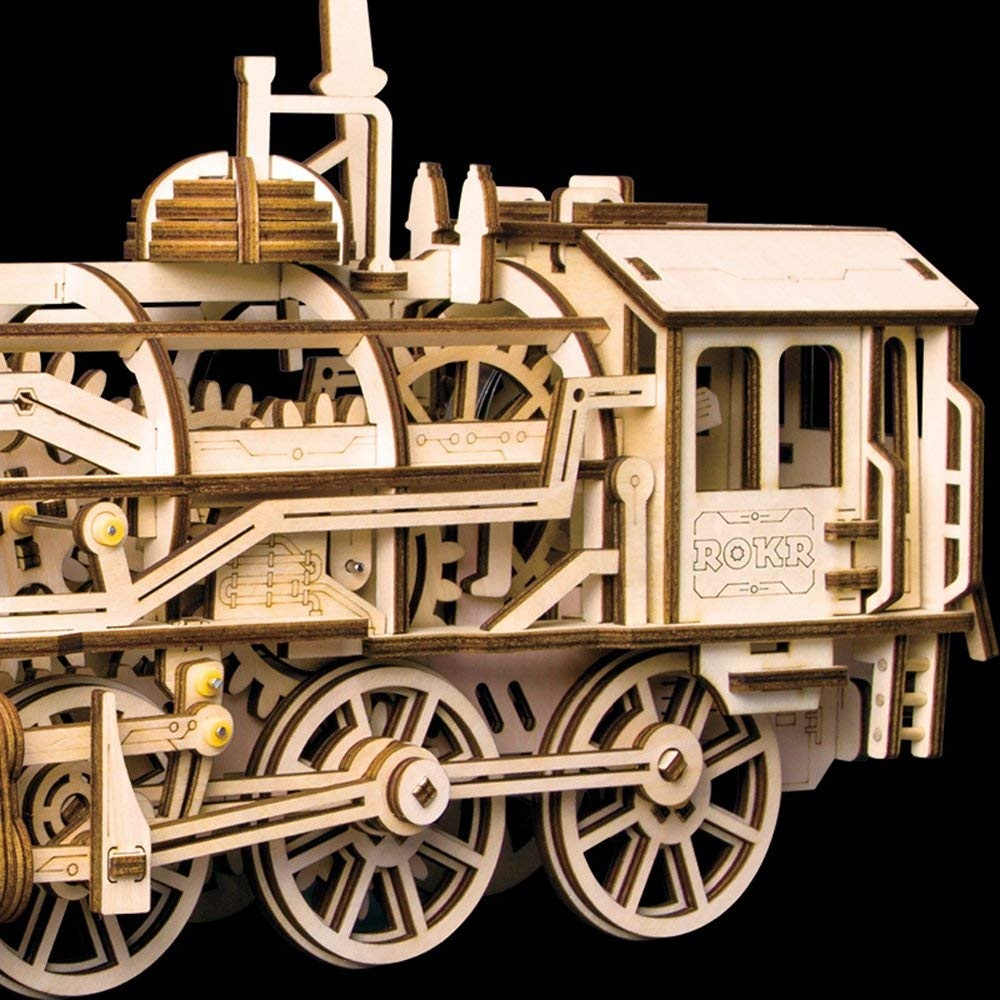 ROKR 3D Wooden Puzzle Building Construction Kits Locomotive Craft Model  with Mechanical Gear -Best Toys for Boys and Adults