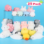 Mochi Squishy Toys, Dreampark Mini Squishies Cat 25 Pcs Mochi Animals Relief Stress Toys Squishy Panda Stretchy Toy Kawaii Squishies Squeeze Toys for Children Adults