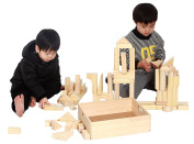 MOD Complete - 64 Piece Set Large Standard Size - Made From Natural Solid Organic BPA-Free Natural New Zealand Pinewood - Children's Wood Building Blocks With Solid Wooden Storage Tray Holder
