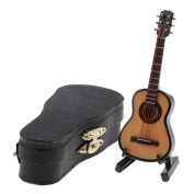 MagiDeal 1:12 Wooden Guitar Miniature Musical Instrument Dollhouse with Carry Case