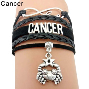 Infinity Love 12 Constellations Sign Bracelet Faux Leather Braid Rope Pretty Cancer