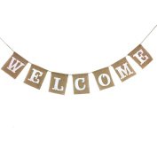 OULII WELCOME Letter Banner Linen Garland Flag for Birthday Wedding Baby Shower Christmas Party Decoration