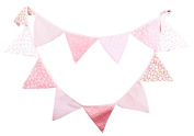 Outflower Vintage Outdoor Birthday Bunting 12 Pennants Floral Fabric Flags Decor Banner Pink 3.2m