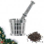 Valentine Day Special Gift, Stainless Steel Mortar and Pestle for Crushing Grinding, Spice Grinder, Khalbatta Silver Colour Size 9.4cm X 9.4cm