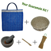 Mexican molcajete bowl bundle, includes 10cm stone mortar and pestle set, tortilla basket, wooden salsa spoon, natural fibre cleaning brush and mesh grocery bag, perfect gift set