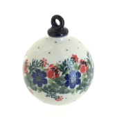 Polish Pottery Holiday Flower Large Round Christmas Ornament