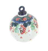 Polish Pottery Holly Large Round Christmas Ornament