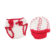 Photography Prop Baby Girl Boy Cute Baseball Style Crochet Knitted Costume Hat Pants