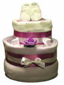 Unique Girls 2 Tier Nappy Cake Pretty Lilac Gift for Maternity Leave Birth Present Baby