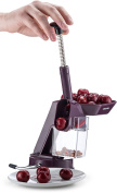 Gourmia GCC9630 Cherry Pitter and Corer - Quickly Removes Pits from Cherries – Plunger Piston, Suction Cup No Skid Base, Waste Bin – BPA Free, Dishwasher Safe
