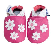 Soft leather baby shoes pink with white flowers