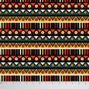 Soimoi Multicolour 105 GSM Poly Satin Fabric Tribal Print Material 110cm Wide By The Metre