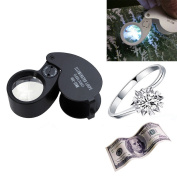 40X Magnification Loupe Jewellery Magnifier Folding Glass Lens + Full Metal Magnifying Loop LED Magnifier for Fine Art Inspection,Sapphire,Stone,Diamond,Gems,Ruby,Emerald,Pearl,Jade,Crystal