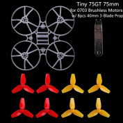 Tiny 75GT 75mm Micro Whoop Frame w/ 8pcs 40mm 3-Blade Propellers and 1pc Props Removal Tool for 0703 Brushless Motors DIY Micro FPV Quadcopter Mini Drone