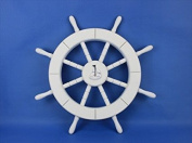 Handcrafted Model Ships New-White-SW-Sailboat-18 White Ship Wheel With Sailboat 46cm . Decorative Accent