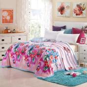 Luckey1 Flower Print Queen Size Bed Blanket