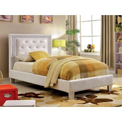 Furniture of America Hilary Twin Tufted Faux Leather Platform Bed
