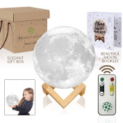Moon Lamp Night Light 3d Printed -3 Colour With Remote Athena Futures - With Moon Booklet, Touch Switch, 15cm , Easy USB Charging, Elegant Wood Stand, Gift Box, Baby Nursery Light, Romantic Light.