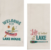 Kay Dee Designs Lake House Embroidered Towels Set - One Each Welcome to Our Lake House & Life Is Better at the Lake